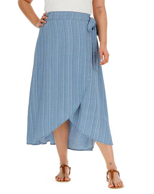 4b1a2e0d184faf Stripe Soft Tencel Denim Wrap Maxi Skirt | Simply Be