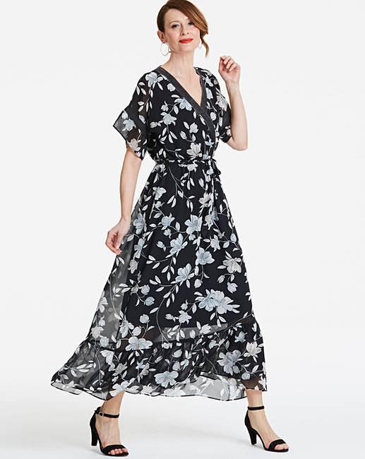 cc5cd44347f Floral Wrap Front Maxi Dress