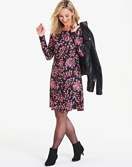 f5a5fbf13b54 Pink Floral Long Sleeve Swing Dress. You need to upgrade your Flash Player  to flash version 9 or above to see the zoom image.
