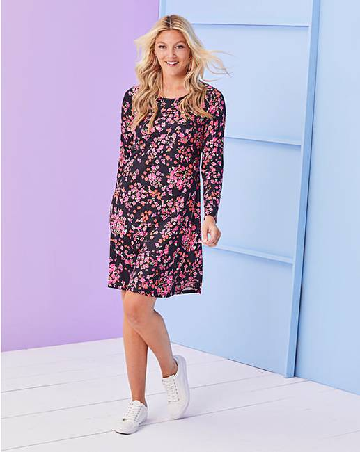 2f85ec8c6327 Pink Floral Long Sleeve Swing Dress