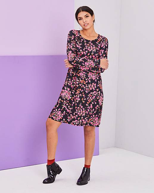 bd7b6981ad35 Pink Floral Long Sleeve Swing Dress. Rollover image to magnify