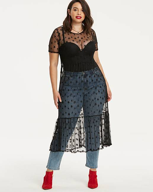 Star Embellished Sheer Dress by Simply Be