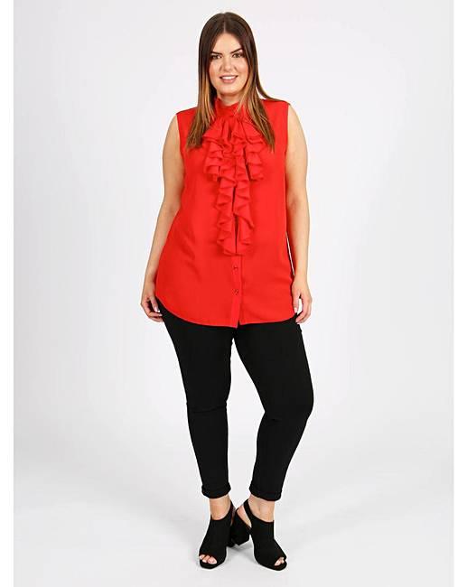 5bd0671a3cbae Lovedrobe GB Red Frill Sleeveless Shirt
