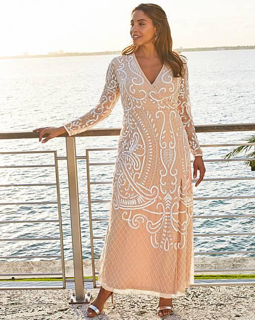 4494c8038e Joanna Hope Wrap Maxi Beaded Dress