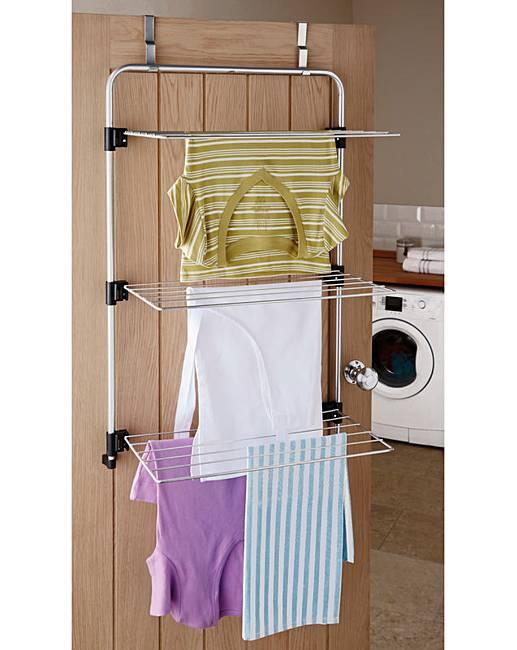 Over The Door 3 Tier Bathroom Towel Bar Rack Chrome W: Over The Door Airer