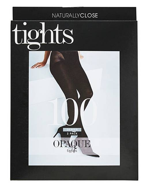 14572259084 2 Pack 100 Denier Opaque Tights