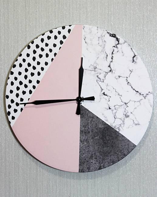 Geometric Pink Canvas Clock