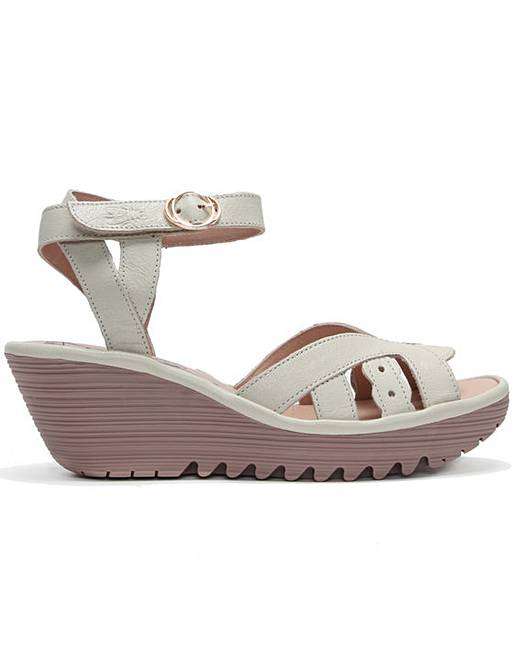 3c819ebe2fd8d Fly London Yrat Leather Wedge Sandals | Simply Be