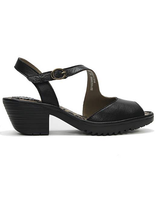 fe713fb628 Fly London Wyno Leather Asymmetric Block Heel Sandals