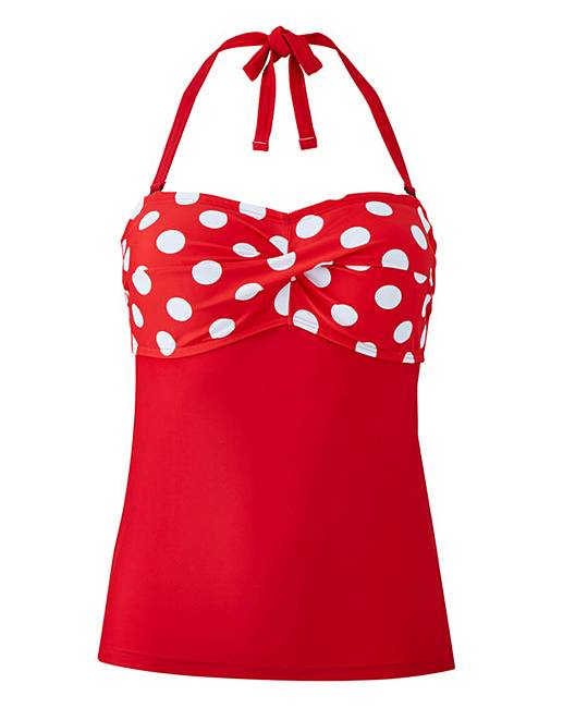 b3d86c285ebba ... Red Polka Dot Twist Front Tankini Top. Click to view 'Beach To Beach'  products. Rollover image to magnify