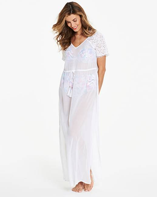 ec4d4bdec84 White Crochet Shoulder Beach Dress