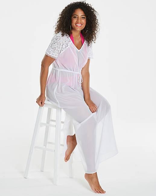 054e3917e5 White Crochet Shoulder Beach Dress | Simply Be