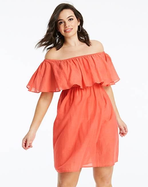 d9a8712efd85f Basic Cotton Bardot Beach Dress | Simply Be