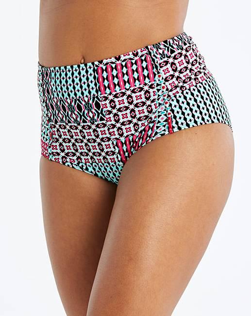76fca9b08aa95 Tile Print High Waist Bikini Bottoms   Simply Be