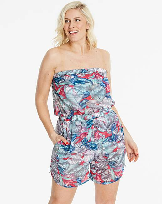 e6c1133022 Simply Yours Palm Print Beach Playsuit