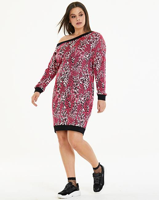 cd8e60a99389a Pink Leopard Sweater Dress | Simply Be