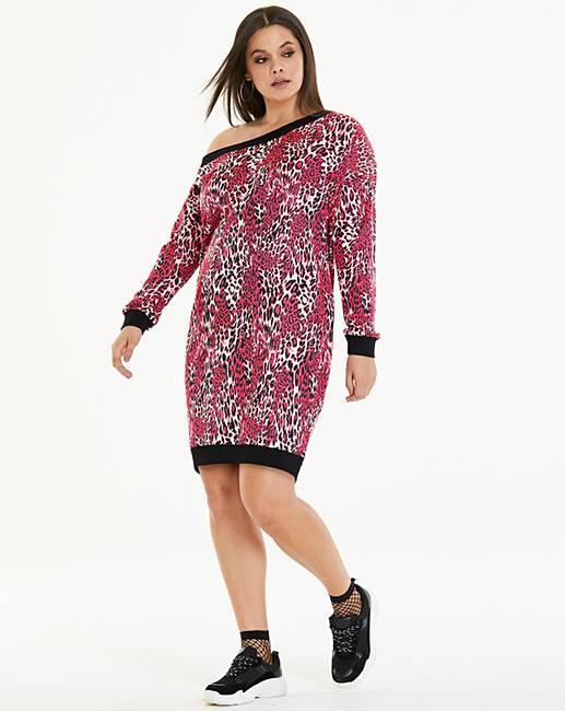7aabfc3306 Pink Leopard Sweater Dress