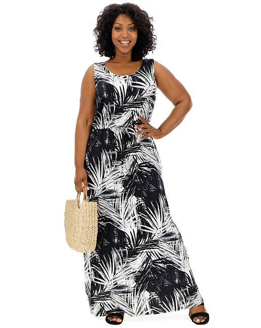 8813bf96ea Palm Print Vest Maxi Dress | J D Williams