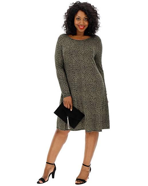 b10b28247f89 Khaki Leopard Print Swing Dress | J D Williams