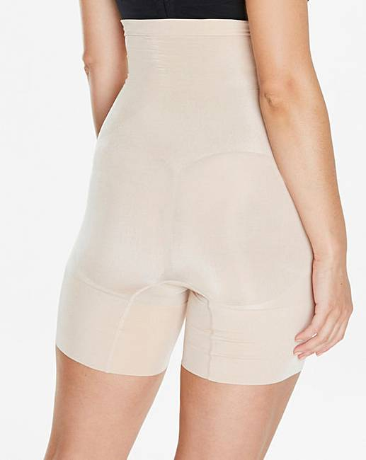 c9795e92e Spanx Oncore High Waisted Mid-Thigh Nude Shorts. Click to view  Spanx   products. Rollover image to magnify