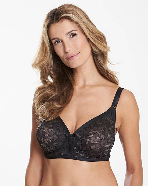 4dd1ae5018 Playtex Lace Non Wired Black  Grey Bra