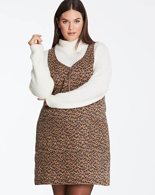 Tan Leopard Print Pinafore Dress  800f926ea