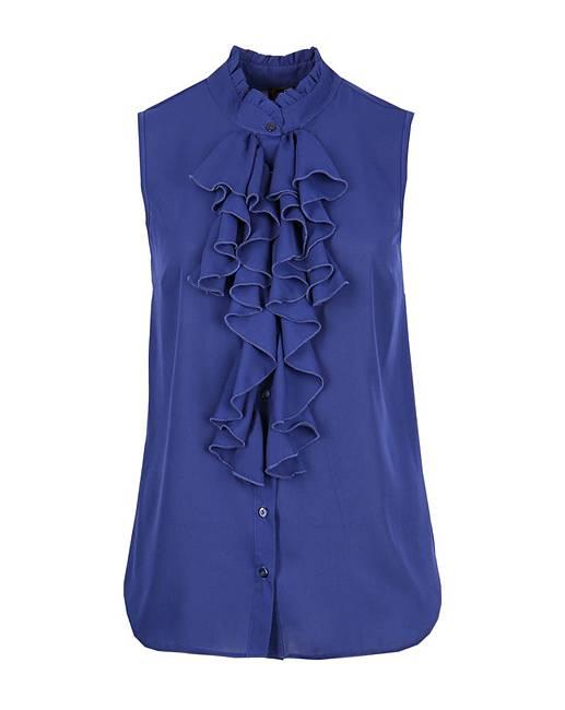 Lovedrobe Gb Navy Frill Sleeveless Shirt by Simply Be