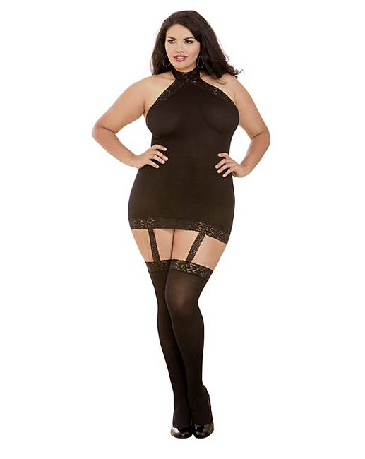 1bf56efa7 Dreamgirl Plus Size Halter Bodystocking | Simply Be