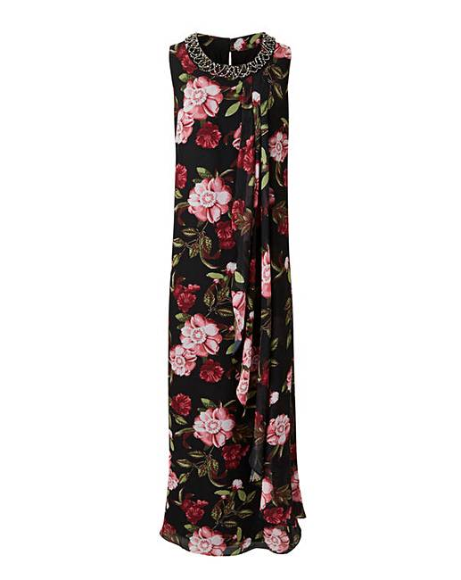 e4603a11cfae8 Joanna Hope Bead Trim Swing Maxi Dress
