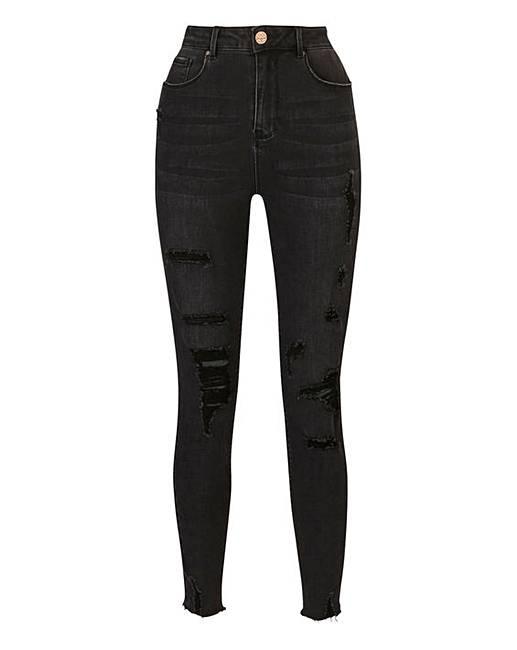 56c3dadf56b Chloe Washed Black High Waist Ripped Super Soft Skinny Jeans Long Length