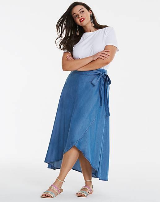 c5d0fd6273e094 Shoptagr | Soft Tencel Denim Wrap Floaty Maxi Skirt by Simply Be