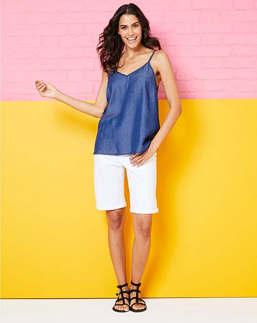 07076a13ee5 Soft Tencel Denim Strappy Cami Top. Rollover image to magnify