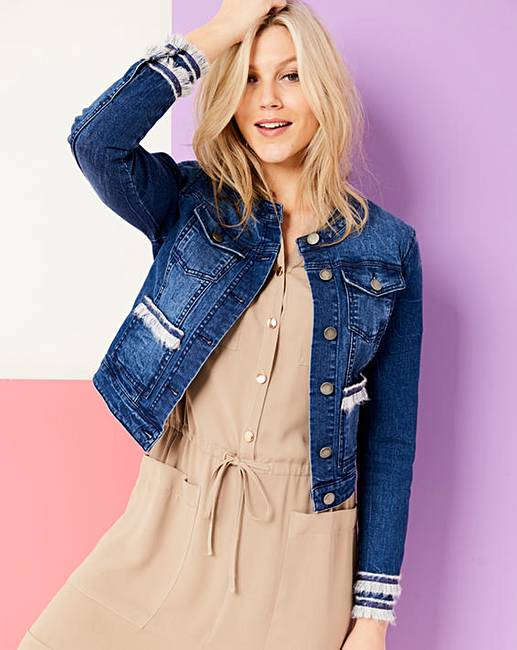 109cbc5d0884a Collarless Jacket With Fringe Trim