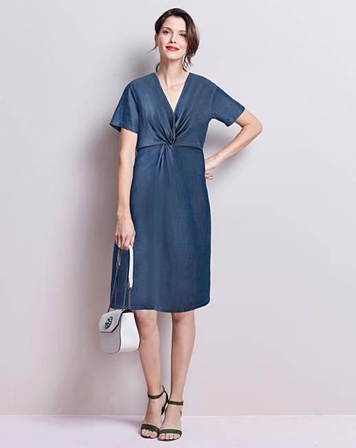 e670b8e07318d Soft Tencel Denim Twist Knot Front Dress | Oxendales
