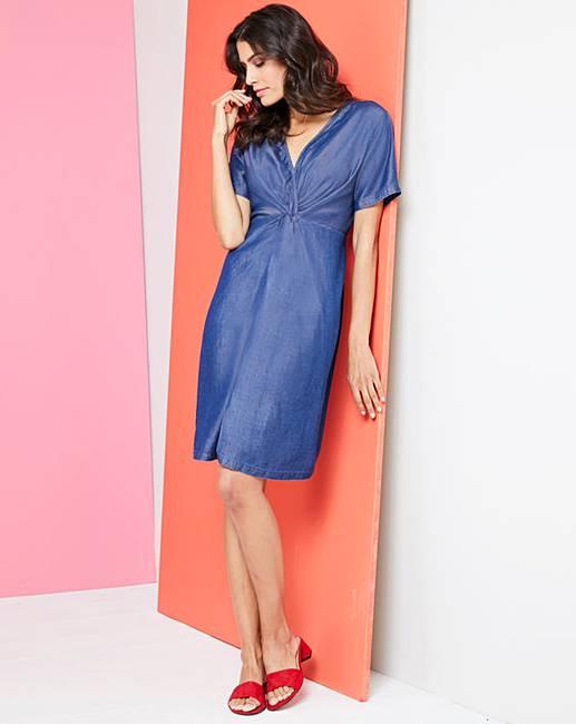 8804735142380 Soft Tencel Denim Twist Knot Front Dress | Fashion World