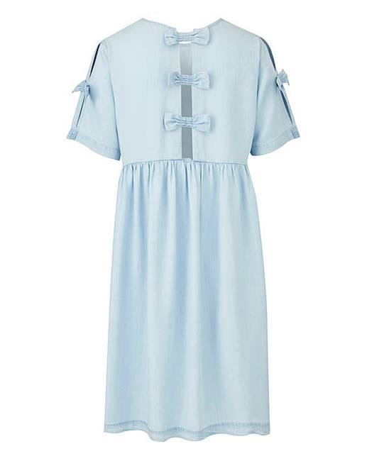 df2ada9723874 Soft Tencel Denim Bow Swing Dress | Simply Be