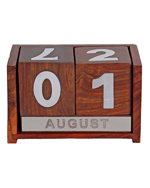 Wooden Perpetual Desk Calendar J D Williams