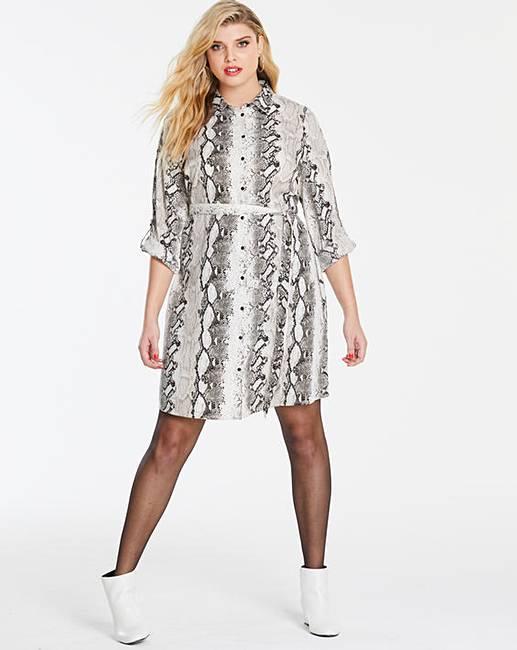 a5b0c65d842 Snake Print Shirt Dress