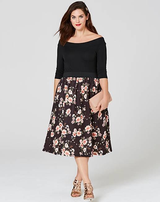 819ac7a0cf Black Pink Floral Printed Prom Dress
