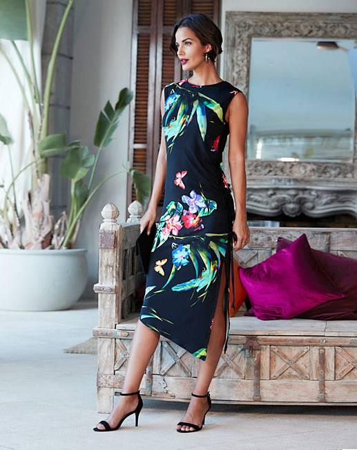 Black Tropical Print Shirred Bodycon Dress 0712796b7