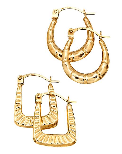 5aa802aa22d22f 9ct Gold Set of 2 Small Creole Earrings | Fashion World