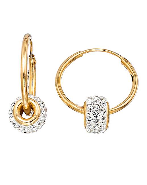 177ce3263f9b8 Crystal Glitz 9 Carat Gold Hoop Earrings