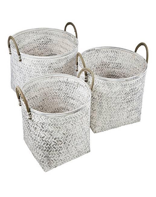 Set Of 3 White Wash Round Bamboo Storage Baskets