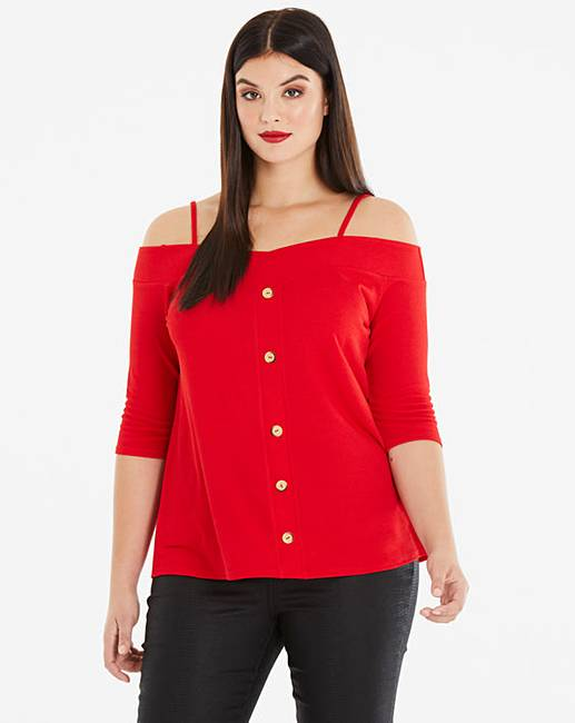 3cdf849c091 Red Button Bardot Cold Shoulder Top | Simply Be