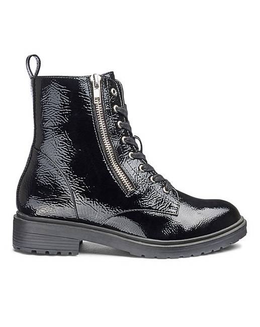 Markle Side Zip Patent Boot Wide E Fit by Simply Be