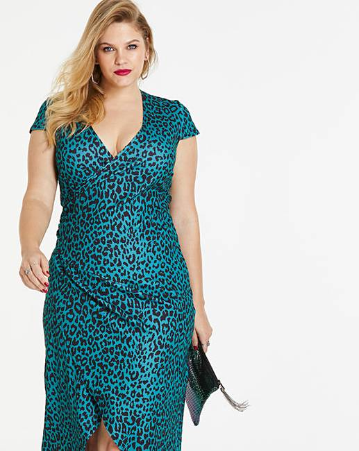 327e66ae7e Teal Leopard Print Simply Be By Night Dip Back Wrap Dress