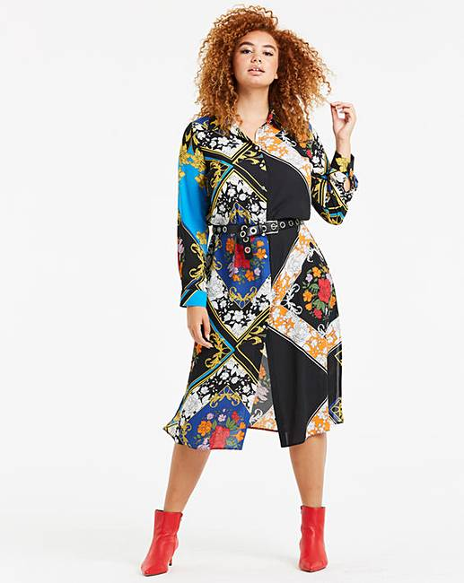 new concept on sale on feet at Scarf Print Shirt Dress