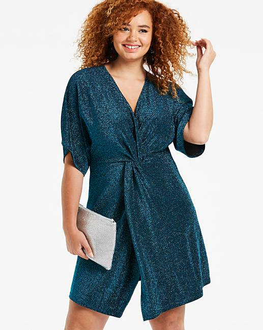 e726a3830f639a Simply Be By Night Glitter Wrap Dress | Simply Be