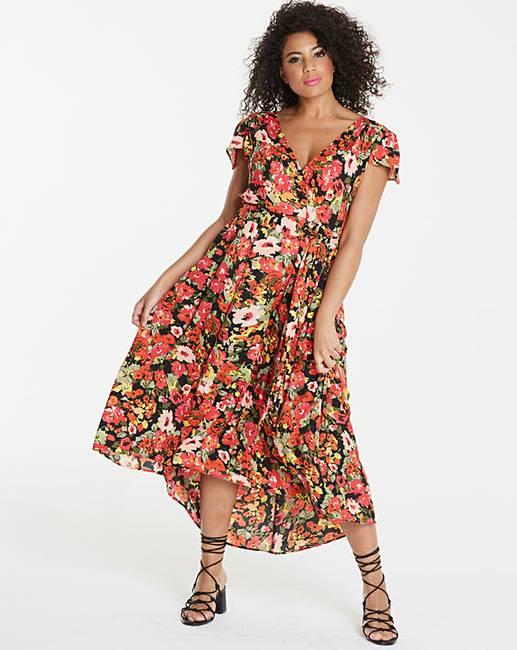 82c49db084 Ax Paris Curve Dip Hem Floral Maxi Dress | Fashion World