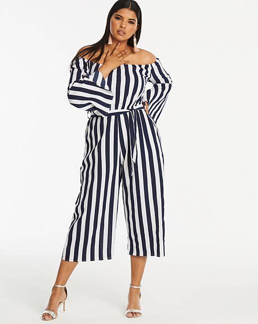Ax Paris Curve Bardot Stripe Jumpsuit by Simply Be